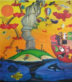 3 langzaam maar zeker acrylic on canvas 149 x 160 cm