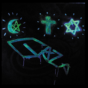 3 sign above gaza b (glow in the dark)100x100 cm