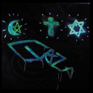 3 sign above gaza b (glow in the dark)100x100 cm