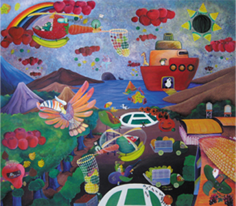 harvest in the sky acrylic on canvas 140x160 cm